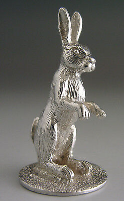 Superb Solid Cast English Sterling Silver Miniature Hare Rabbit 2010