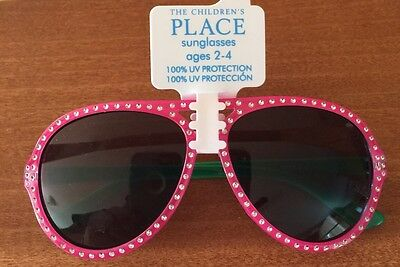 Girls The Children's Place Rhinestone Pink & Green Sunglasses  ~Ages 2-4~  NWT