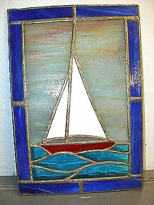 """Vintage Studio Stained Leaded Art Glass Window Panel Sail Boat Blue Border 9.5"""""""