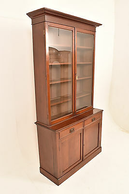A 20th Century Edwardian Mahogany Glazed Library Bookcase