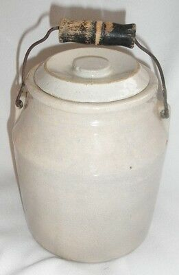 Antique Stoneware Miniature Small Jar Crock With Lid and Wire Bail Wood Handle