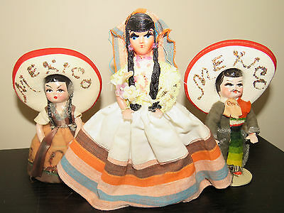 Vtg Made in Mexico Souvenir Dolls Boy & Two Girls with Sombreros