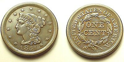 Choice A/u 1851 Coronet Large Cent-Sharp & Attractive! Free Shipping!