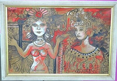 Antique Painting Surrealist Modern Art Drawing Abstract portrait ladys American