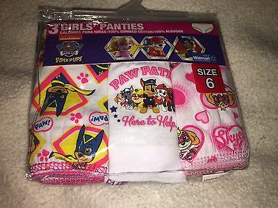 New In Package Paw Patrol Girls 3pk Underwear Sz 6