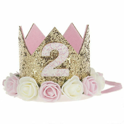 Baby girl birthday flower crown decorated with the party
