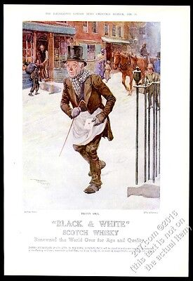 1928 Black & White Scotch Whisky Charles Dickens The Chimes Trotty Veck print ad