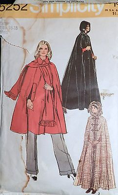 Vtg 1970s 1972 Simplicity 5252 Hooded Evening CAPE Scarf Sewing PATTERN 16-18