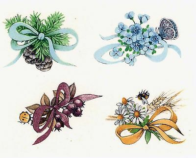 "8 Pinecone Flower Ribbon 1-1/4""  Waterslide Ceramic Decals Xx"
