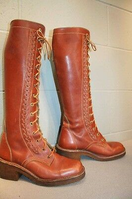 10 M Fits 8.5 Brown Leather Vtg 70s LACE UP TALL Hippie Platform Heel Boot SHOE
