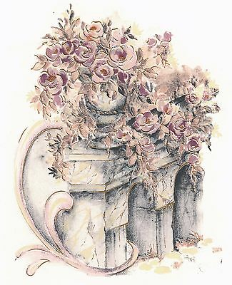"1 Grecian Column Vase Pink Flowers 7""  Waterslide Ceramic Decal Xx"