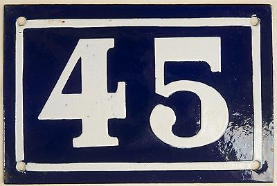Old blue French house number 45 door gate plate plaque enamel steel sign c1950