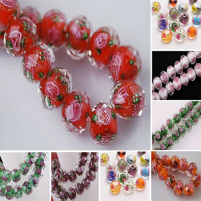 12x8mm Lampwork Glass Round Faceted Charms Loose Spacer Beads Flower Making