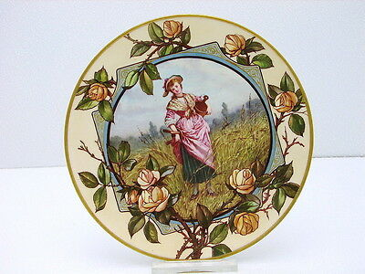 Aynsley Hand Painted Ceramic Plate Yellow Rose Milk Maid Artist Signed LV