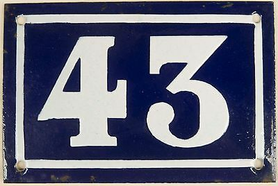 Old blue French house number 43 door gate plate plaque enamel steel sign c1950