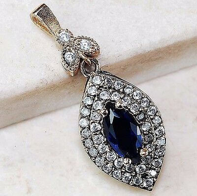 925K Sterling Silver 3Ct Sapphire & White Topaz European Pendant Jewelry, D5-1