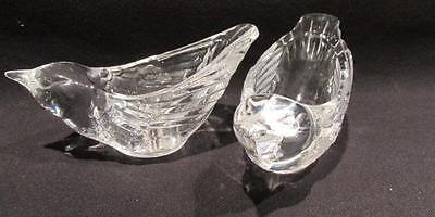 Cristal D'Arques Pair 24% Lead Crystal Clear Bird Shaped Candle Holders
