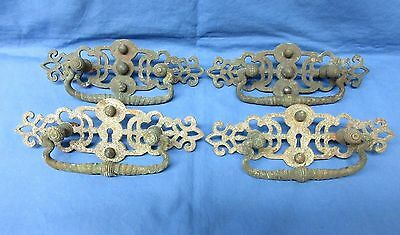 4 Antique Large Handles Drawer Pulls Brass, Fancy, Victorian Style