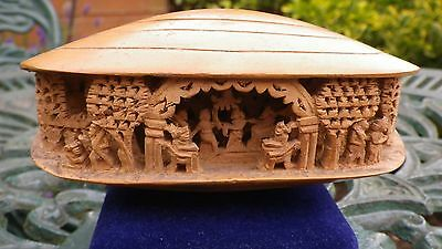 Vintage Japanese Chinese Asian Hand Carved Wooden Okimono Figure Clam Shell