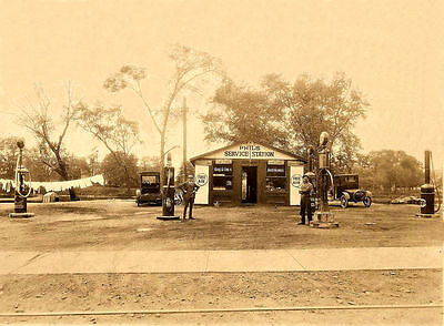 SUNOCO GAS OIL SERVICE STATION PHIL'S GRAVITY PUMPS owner employee 5x7 glossy