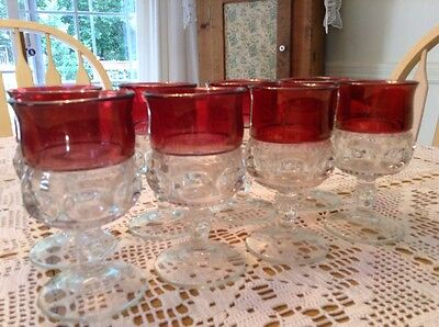Set Of 8 TIFFIN KINGS CROWN THUMBPRINT CRANBERRY WATER / WINE GOBLETS LOT 1 Of 2
