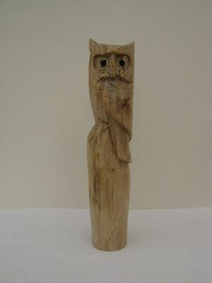 ONE  WOODEN CARVED OWL HIKING STICK Handle  for Walking stickmaking