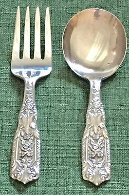 1940 Westmorland Milburn Rose Sterling Silver Child's Baby 2pc Set Spoon & Fork