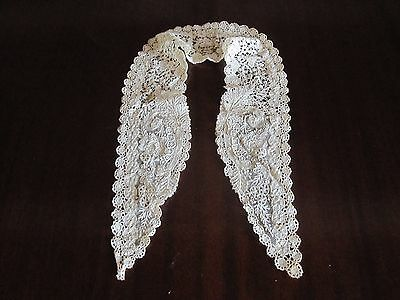 Antique Lace Collar Lappet Brussels Duchesse Point De Gaze Victorian Mixed Lace