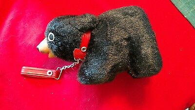 Vintage 1950's Made in Japan Furry Black Teddy Bear