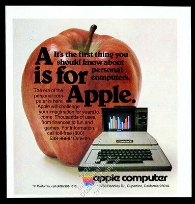 1978 Apple II Computer photo A is for Apple classic vintage print ad