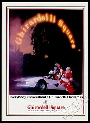 1980 Ferrari 308 GTS car & Santa photo Ghirardelli Square SFC vintage print ad