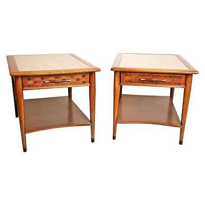 Mid Century Modern END TABLE PAIR wood nightstand side danish vintage walnut 50s