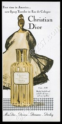 1960 Christian Dior Diorling perfume bottle photo Rene Gruau art vintage ad