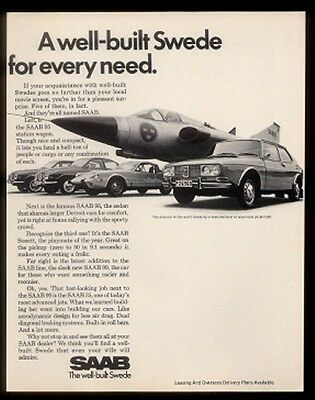 1970 Saab 95 96 Sonett 99 cars & 35 air force jet plane photo vintage print ad