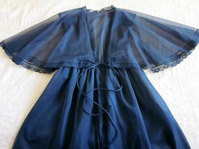 Vintage Lacy Sheer Double Chiffon Robe with Capelet S NEW Black Negligee