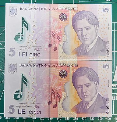 TWO Romanian 5 Lei Notes