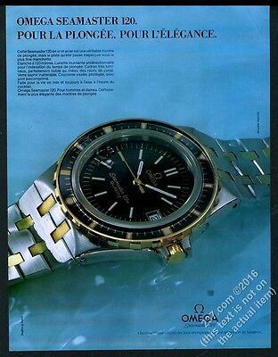 1983 Omega Seamaster 120 watch color photo vintage print ad