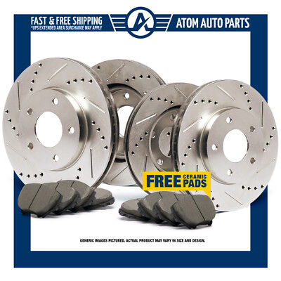 (F+R) Slotted Drilled Rotors & Ceramic Pads 2005-2010 Ford Mustang GT
