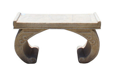 Chinese Off White Gray Marble Stone Curved Legs Stand Table cs2929