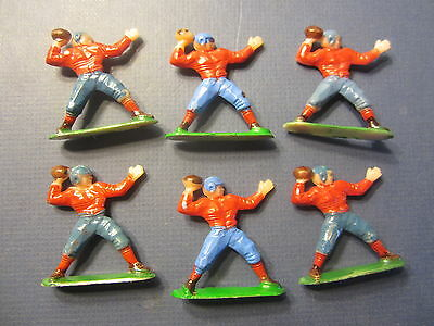 Lot of 6 Old Vintage c.1950's FOOTBALL PLAYER - Decoration Figures - Blue & Red