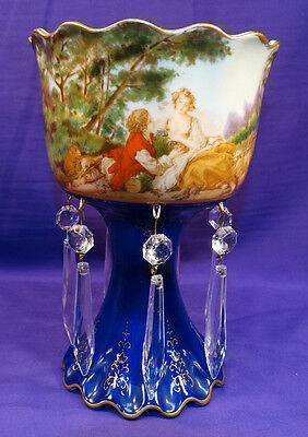 Beautiful Hand Painted China Vase W/ Courting Scene And Crystal Prisms Roses