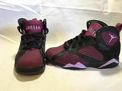 Nike Air Jordan 7 Retro Mulberry Toddler Girls Purple/black Shoes~size 12 C