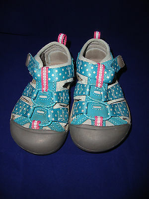 KEEN H2 Toddler Girls Teal Blue Polka dot size 6 Sandal