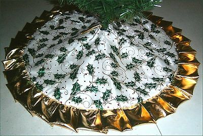 "Tapered /Pencil Christmas Tree Skirt ~ 32"" Metallic Holly & Berries ~Custom Made"