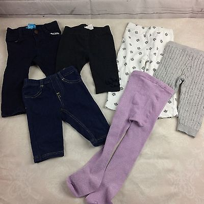 12 Mos Baby Girl Lot Of 6 Bottoms Pants Leggings -D2