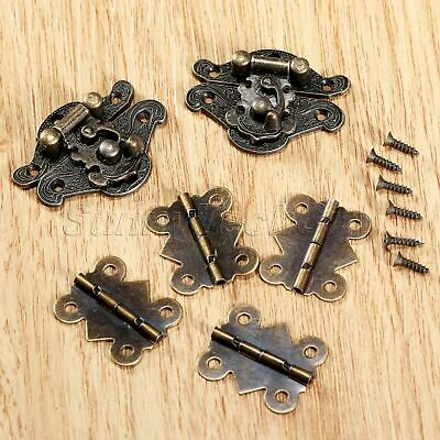 Antique Bronze Decorative Latch Hasps Butterfly Hinges Jewelry Box Case Hardware