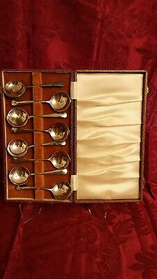 Antique Abercrombie & Fitch English Silver Plate Brandy Cognac Spoons x8 Boxed