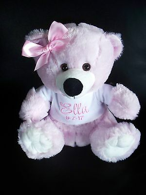 Personalised Pink Teddy Bear Baby Gift Any Name 25cm  Name day Get Well Any name