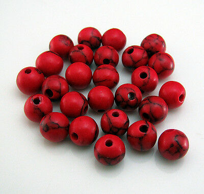 Free 100pcs Round Red Turquoise Spacer loose Beads gemstone Crafts design 6mm
