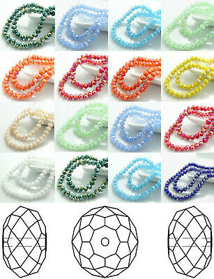 100Pcs Dia. 6mm Rondelle Czech Crystal AB Beads Faceted Porcelain Spacer Beads